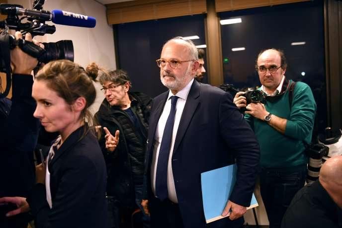 Le porte-parole de Lactalis Michel Nalet lors d'une conférence de presse à Paris le 11 janvier 2018.