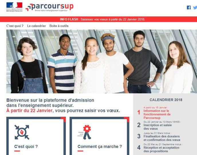 Plate-forme Parcoursup – janvier 2018.