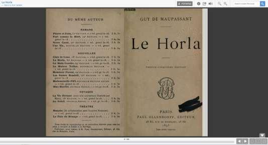 Open Library dispose d'un lecteur pour lire en ligne des ouvrages. De nombreux classiques français, comme ici «Le Horla» de Guy De Maupassant, ont été scannés et mis à disposition.