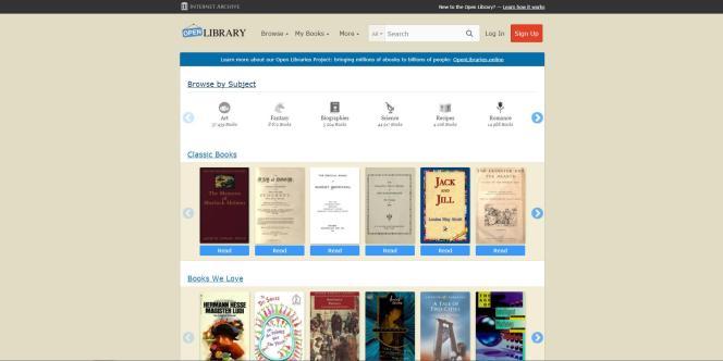 Open Library dispose de classifications thématiques pour trier ses livres numérisés, ainsi que d'un moteur de recherche complet.