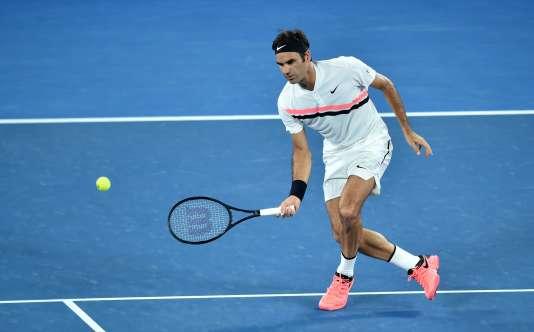 Le Suisse Roger Federer lors de sa demi-finale face au Sud-Coréen Chung Hyeon, le 26 janvier à Melbourne.