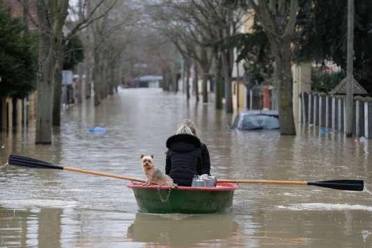 Inondation à Villeneuve-Saint-Georges (Val-de-Marne), le 24 janvier.