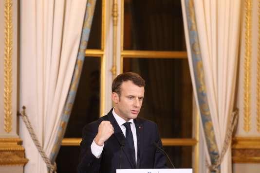 Le président Emmanuel Macron lors de sa conférence de presse avec le président argentin, le 25 janvier, à l'Elysée, le 26 janvier.
