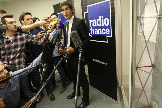 Conférence de presse de Mathieu Gallet, PDG de Radio France, à Paris, le 8 avril 2015.