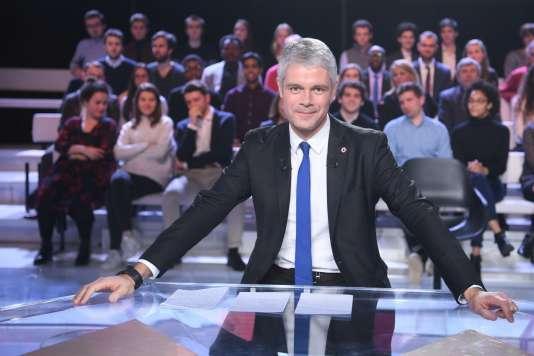 Laurent Wauquiez sur le plateau de «L'Emission politique», à Saint-Cloud, le 25 janvier.