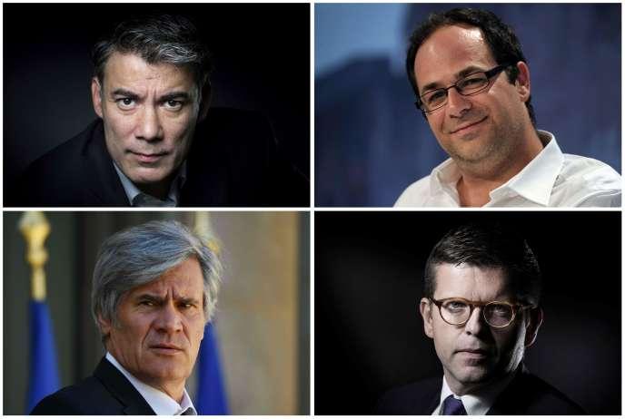 De gauche à droite et de haut en bas : Olivier Faure, Emmanuel Maurel, Stéphane Le Foll et Luc Carvounas brigueront la tête du Parti socialiste lors du 78e congrès.