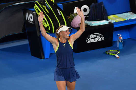 Caroline Wozniacki après sa victoire contre Simona Halep le 27 janvier à Melbourne.