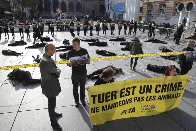 Manifestation lors de la journée mondiale des végans, à Paris, en novembre 2017.