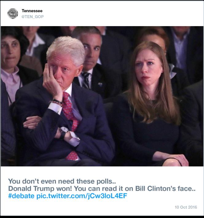 « Pas besoin des sondages, Trump a gagné! Ça se voit rien qu'à la tête de Bill Clinton.» Exemple d'image relayée par un compte identifié comme un «bot» russe par Twitter.
