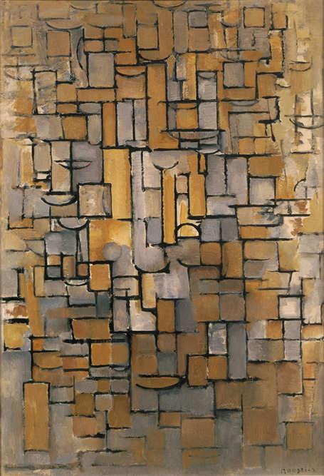 «L'installation de Mondrian à Paris en1912 lui permet d'assimiler d'une manière très personnelle les fondements du cubisme. Le réel disparaît désormais derrière des entrecroisements de lignes géométriques et de touches de couleur en camaïeu.»