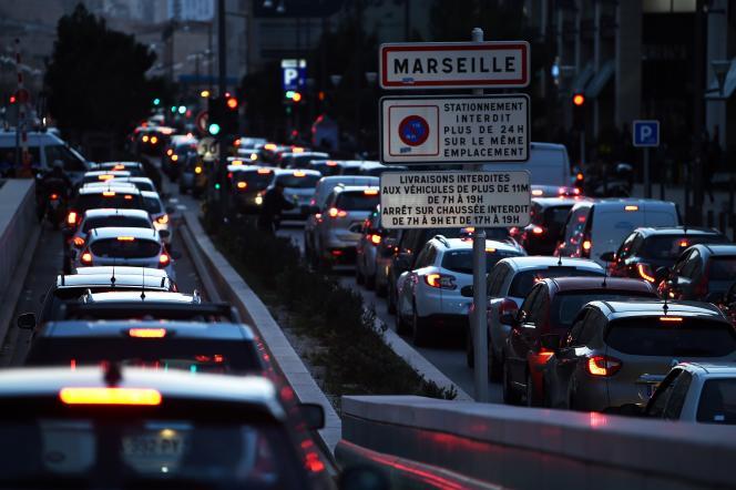 Embouteillages à Marseille, le 10 janvier.