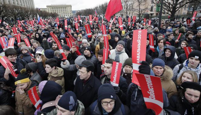 Rassemblement de partisans d'Alexeï Navalny, à Saint-Pétersbourg, le 28 janvier.