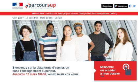 Page d'accueil du site Parcoursup.fr (janvier 2018).