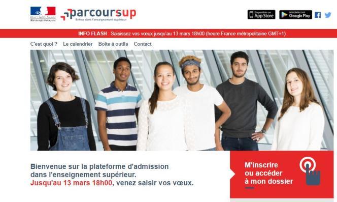 Page d'accueil du site Parcoursup - Janvier 2018