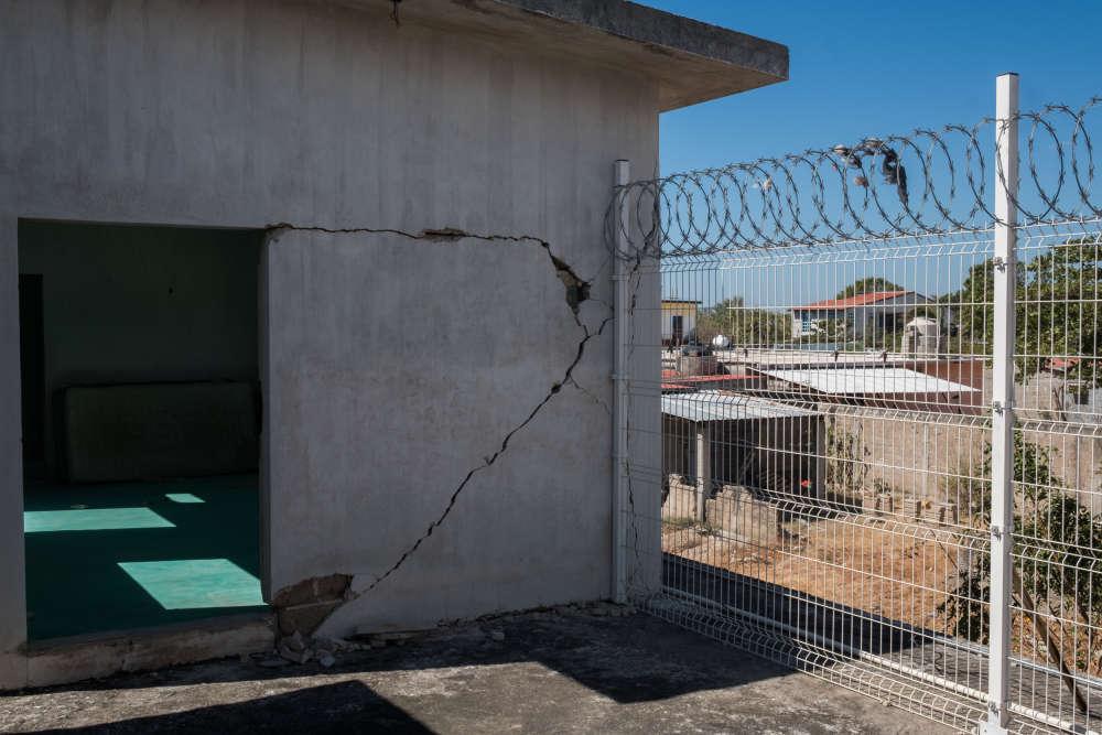 Un bâtiment de la Maison des migrants d'Arriaga s'est fissuré à la suite du tremblement de terre qui a touché le Mexique, enseptembre2017.