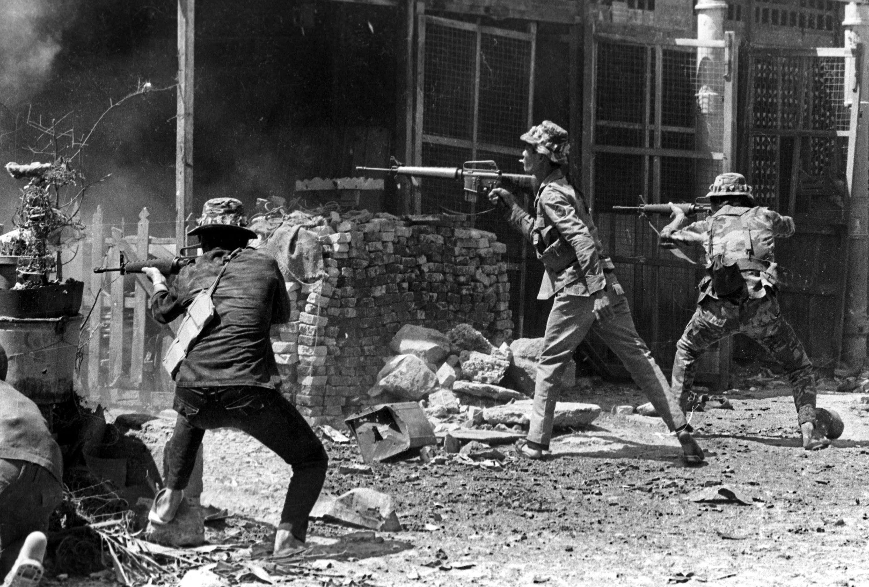 Des forces sud-vietnamiennes au combat à Saïgon, dans les premiers jours de 1968.