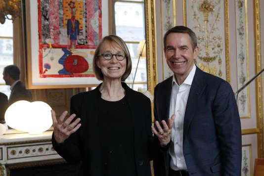 Françoise Nyssen et Jeff Koons, à Paris, le 30janvier.