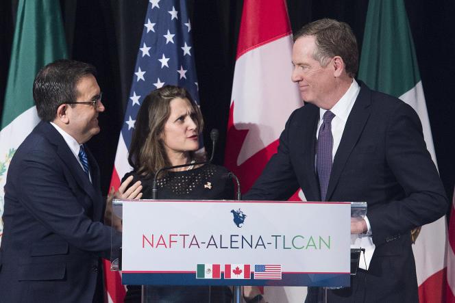 Les représentants mexicain, canadien et américain lors des négociations sur le traité de libre-échange Alena, à Montréal (Canada), le 29 janvier.