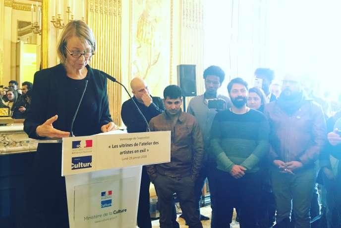 Françoise Nyssen lors de l'inauguration des« Vitrines de l'Atelier des artistes en exil» au ministère de la culture,le 29 janvier.