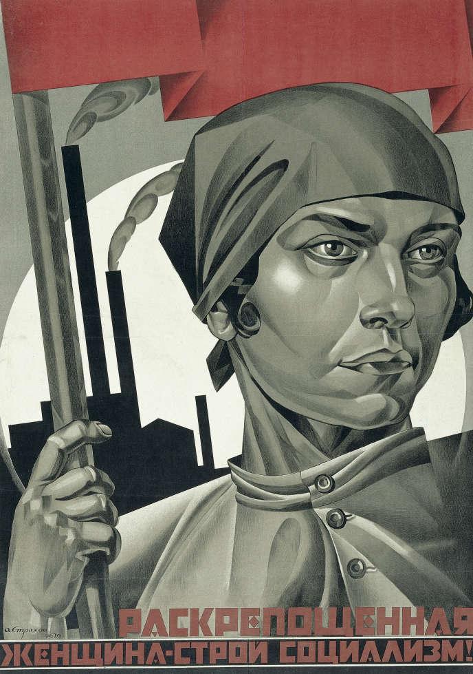«Emancipated Woman – Build Socialism!» (1926), d'Adolf Strakhov, lithographie sur papier.