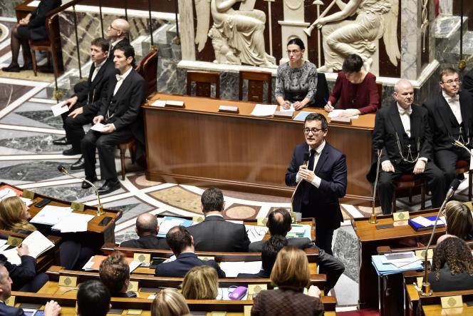 Le ministrede l'action et des comptes publics, Gérald Darmanin, lors des questions au gouvernement à l'Assemblée, le 31 janvier.