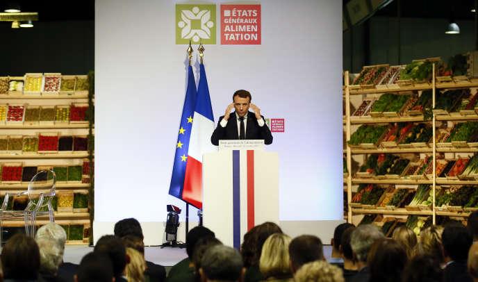 Le président français, Emmanuel Macron, lors d'un discours devant les représentants de l'industrie agroalimentaire, au marché international de Rungis (Val-de-Marne), en octobre 2017.