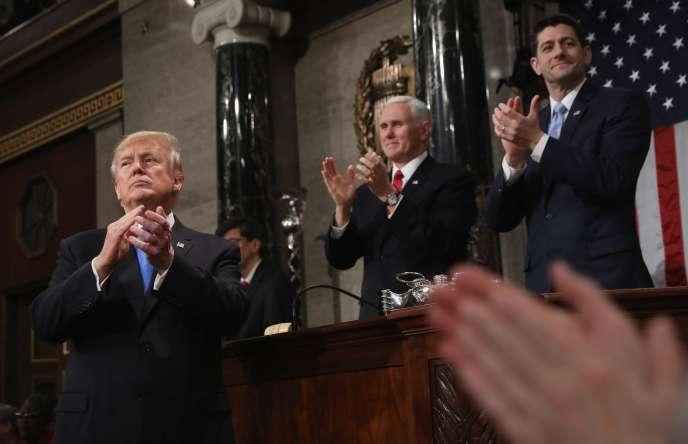 Donald Trump, lors de son premier discours sur l'état de l'Union, à Washington, le 30 janvier.