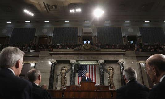 Le président des Etats-Unis, Donald Trump, lors de son premier discours sur l'état de l'Union.