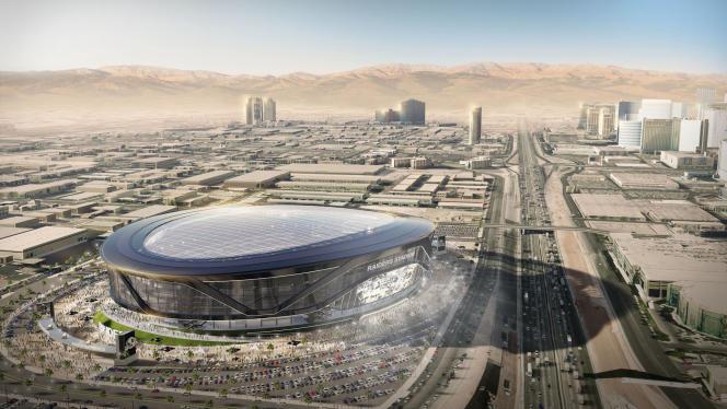 Vue d'artiste du futur stade des Raiders, à Las Vegas (Nevada), dont l'ouverture est prévue pour 2020.