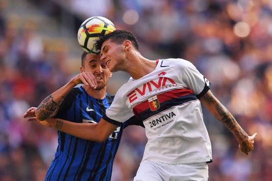 Pietro Pellegri (maillot blanc) lors d'un match face à l'Inter Milan, le 24 septembre 2017.