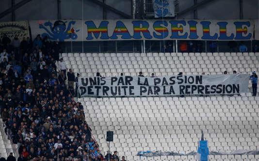 Des banderoles dans le Stade Vélodrome de Marseille lors du match face à Metz, le 2 février.