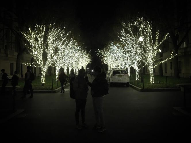L'allée appelée «college walk», l'un des axes principaux du campus de Columbia, illuminée pendant la période des fêtes.