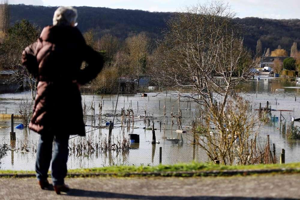 Des jardins potagers inondés à Elbeuf, au sud de Rouen, jeudi 1er février. La crue de la Seine a provoqué, depuis la nuit de mercredi à jeudi, l'inondation de plusieurs dizaines de maisons, majoritairement dans des caves, selon les autorités.