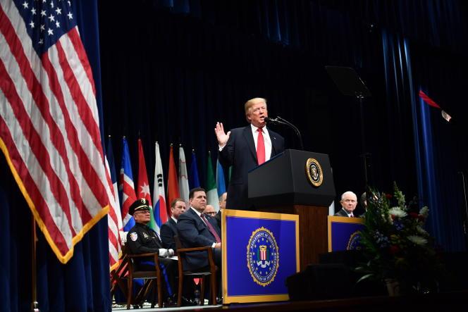 Donald Trump à l'académie du FBI, à Quantico (Virginie), le 15 décembre 2017.