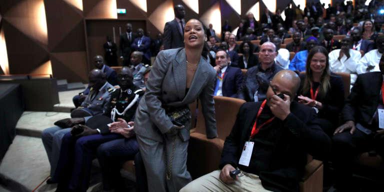 Rihanna à Dakar, le 2 février 2018, lors de la troisième conférence de financement du Partenariat mondial pour l'éducation, dont elle est ambassadrice.