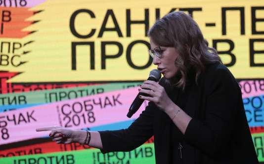 Ksenia Sobtchak, le 3 février à Saint-Pétersbourg.