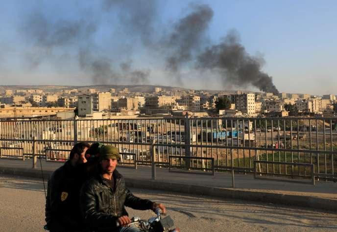 La ville d'Afrin après un bombardement, le 2 février.
