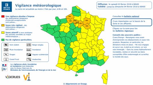 Carte de vigilance de Météo France samedi 3 février à 6 heures.