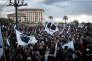 Manifestation à Ajaccio, en Corse, le 3 février, trois jours avant la venue d'Emmanuel Macron dans l'île.