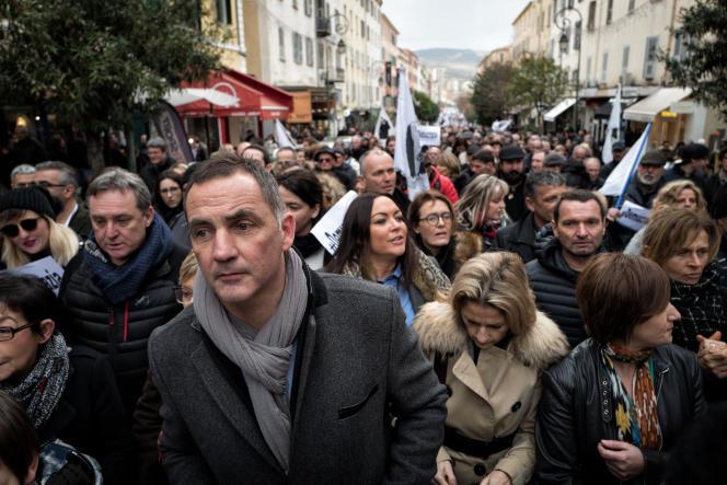 Le président du conseil exécutif de l'Assemblée de Corse Gilles Simeoni lors de la manifestation organisée à sa demande, le 3 février, à Ajaccio.