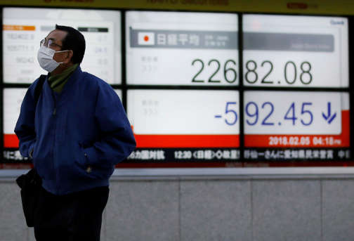 Un tableau répertoriant la chute du Nikkei à Tokyo, au Japon, mardi 5 février.