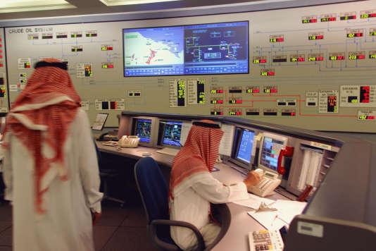 Un centre de contrôle des opérations d'Aramco, à Dammam, en Arabie saoudite, en2015.