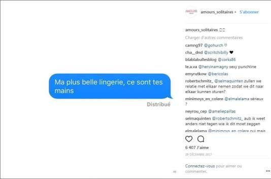 Le compte Instagram Amours solitaires, créé par Morgane Ortin en février 2017, publie les plus beaux textos d'amour reçus.