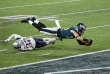 Feb 4, 2018; Minneapolis, MN, USA; Philadelphia Eagles tight end Zach Ertz (86) scores a touchdown over defender New England Patriots free safety Devin McCourty (32) during the fourth quarter in Super Bowl LII at U.S. Bank Stadium. Mandatory Credit: Brad Rempel-USA TODAY Sports