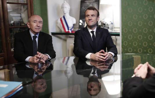 Le ministre de l'intérieur, Gérard Collomb, avec le président Emmanuel Macron, le 6 février 2018.