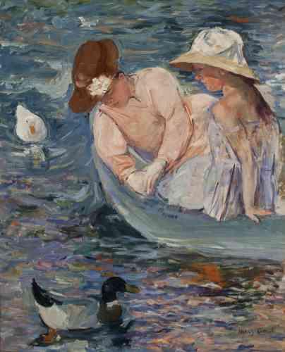 «L'un des tableaux vraiment impressionnistes de Cassatt, peint auprès de l'étang de Beaufresne: il y a l'eau, ses clapotis et ses reflets changeants, le soleil d'un plein-air estival, le charme des jeunes filles en fleurs… Depuis cinq ans, Monet a commencé son travail sur les nymphéas, dont toute figure finalement sera exclue.»