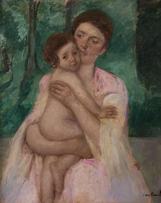 «À la fin de sa carrière, la vue de Mary Cassatt se détériore et sa peinture s'en ressent: plus épaisse, plus appuyée, sa touche construit des formes plus denses, plus élaborées dans la matière. À l'arrière-plan de ce faux plein-air, le paysage hachuré et arbitraire semble faire écho au dernier Cézanne. »