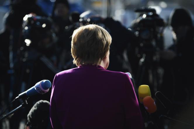 La chancelière allemande Angela Merkel, mardi 6 février au siège de la CDU, à Berlin.