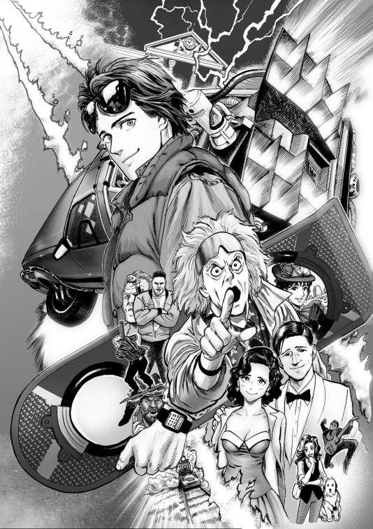 Une planche de« Retour vers le futur» en manga.