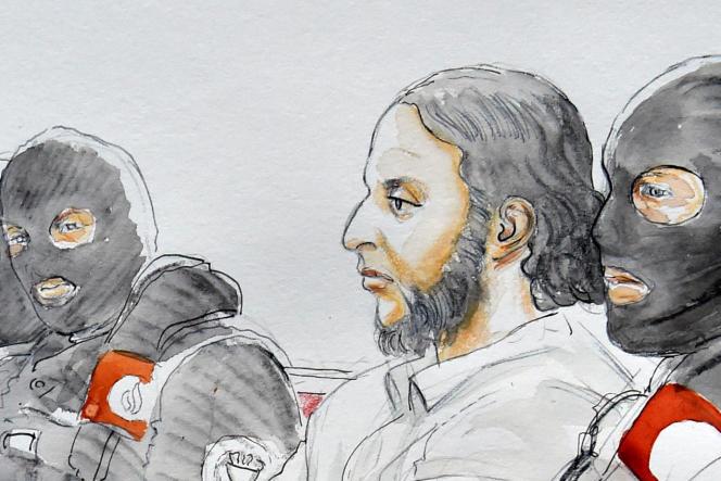 Croquis d'audience représentant Salah Abdeslam au palais de justice de Bruxelles, le 5 février.
